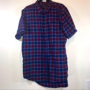 Pacsun Plaid Extra Long Button Down Shirt - #1134